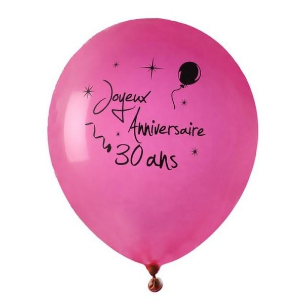 Ballon Joyeux Anniversaire Fuschia 30 Ans X 8 Decoration De Salle Pour Anniversaire Creavea