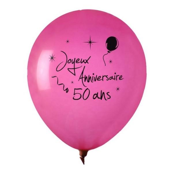 Ballon Joyeux Anniversaire Fuschia 50 Ans X 8