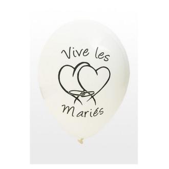 Ballon mariage Vive les mariés x8 blanc