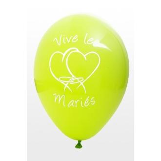 Ballon Vive les mariés x8 vert anis