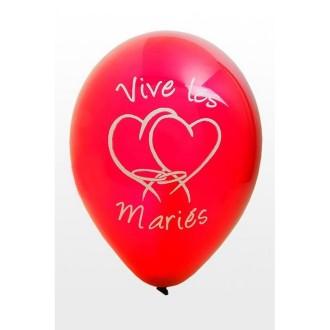Ballon mariage Vive les mariés x8 rouge