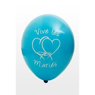 Ballon Vive les mariés x8 turquoise