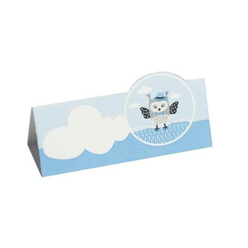 Marque place carte de table hibou bleu x10 marque place for Marque de robinetterie salle de bain