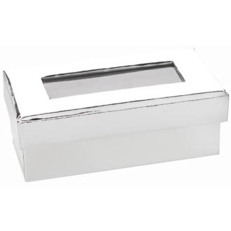Mini boite à dragées rectangulaire argent miroir lot de 6