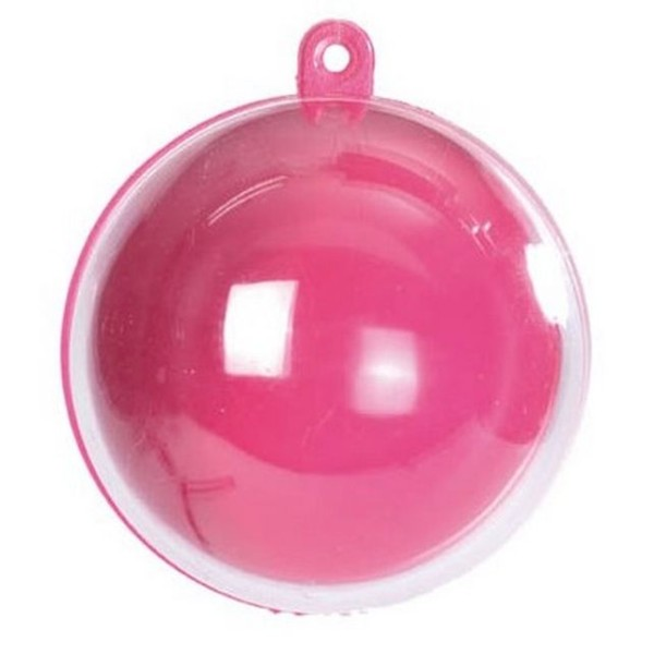 Boule transparente plexi fuschia Lot de 10 - Photo n°1