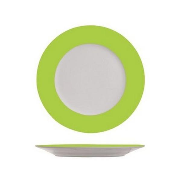 4 Assiettes à dessert blanches à bord vert anis - Photo n°1