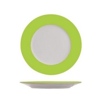 4 Assiettes à dessert blanches à bord vert anis