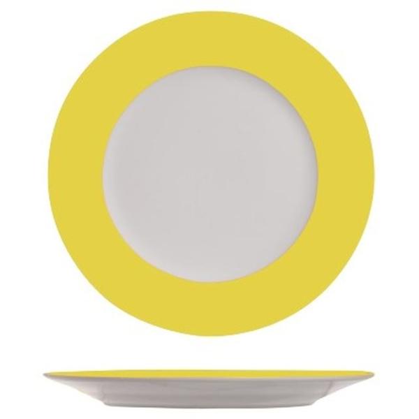 4 Assiettes plates blanches à bord jaune - Photo n°1
