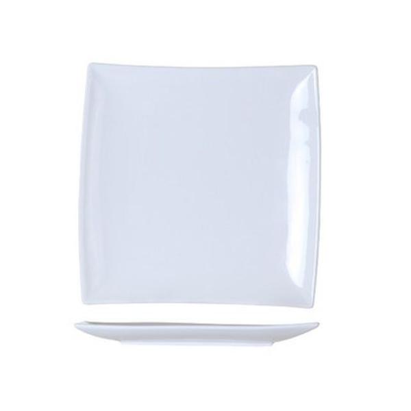 6 Assiettes à dessert carrées bord incliné blanches - Photo n°1