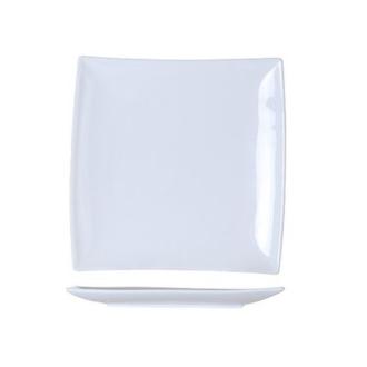 6 Assiettes à dessert carrées bord incliné blanches