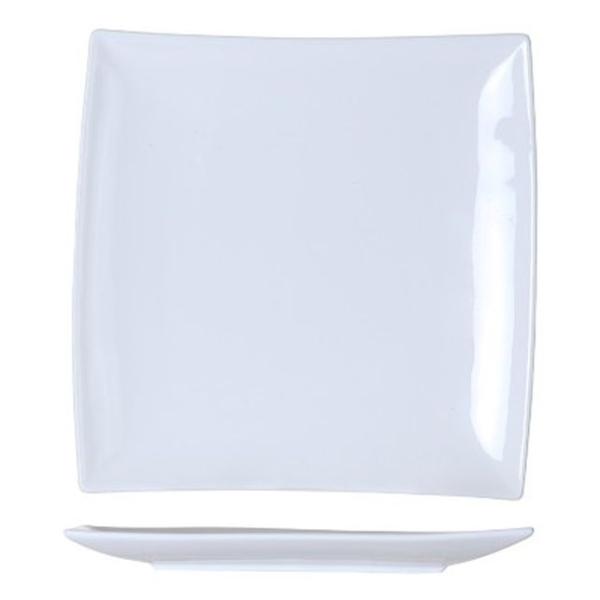 6 Assiettes carrées bord incliné blanches - Photo n°1