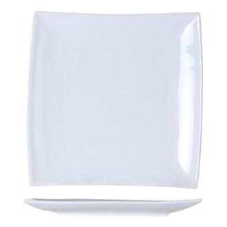 6 Assiettes carrées bord incliné blanches