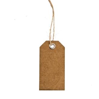 15 Etiquettes porte nom kraft rectangles