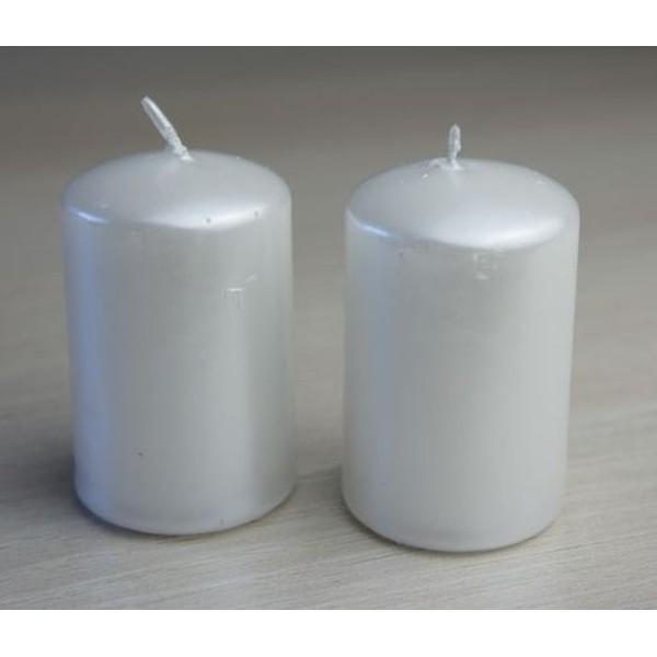 2 Bougies blanc nacré D4cm Ht 6cm - Photo n°1