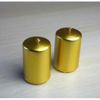 2 Bougies or métallisé D4cm Ht 6cm