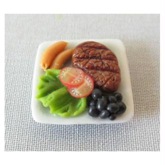 1x Assiette carrée 20mm Plat complet Miniature - Steak & Salade