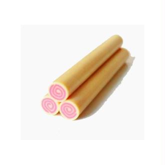Cane en Pâte Polymère 5mm ROULE VANILLE/FRAISE