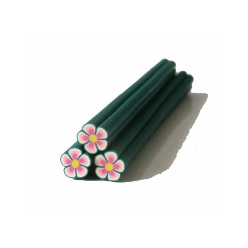 cane en p te polym re 5mm fleur vert rose canes fimo. Black Bedroom Furniture Sets. Home Design Ideas