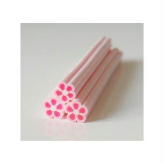 Cane en Pâte Polymère 5mm FLEUR BLANC/ROSE