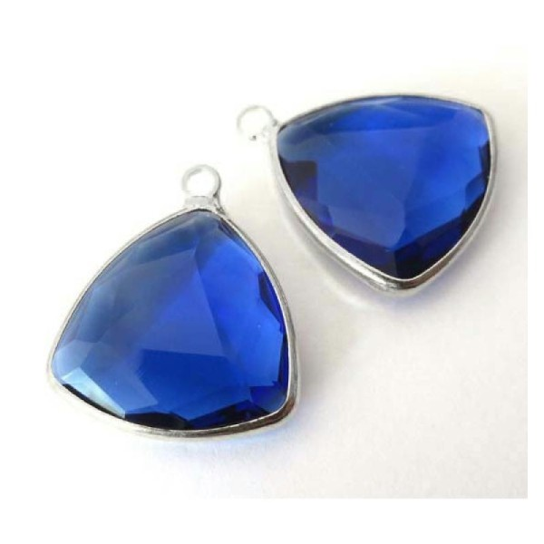 2 Perle de verre fil métal argenté  triangle