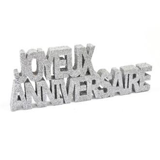 Déco table joyeux anniversaire GM Argent pailleté