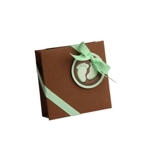 0a67161e01131 Boite à dragées carrée Pieds bébé chocolat x2 - Décoration naissance ...