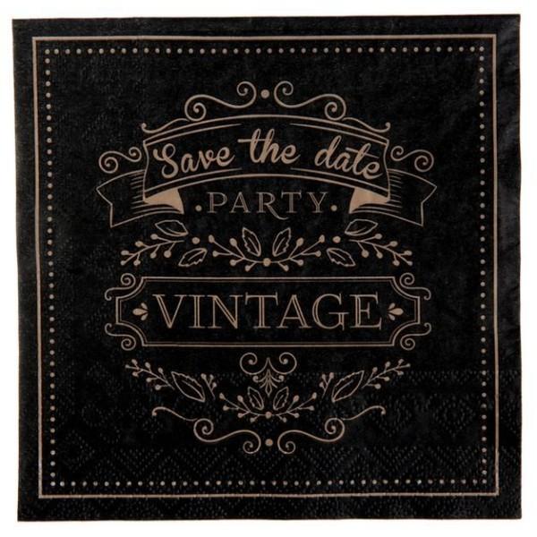 20 Serviettes en papier Vintage coloris noir et kraft - Photo n°1
