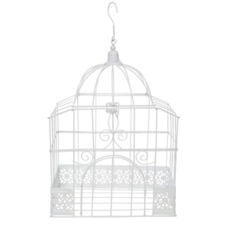 Urne tirelire mariage cage rectangulaire blanche