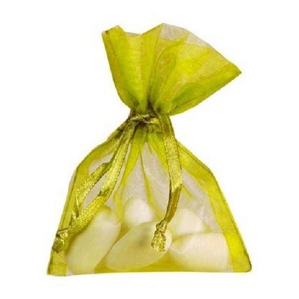 Sachet organdi vert jaune x10 - Photo n°1