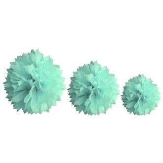 Pompon papier de soie, lot de 3 (20,30 et40cm) Jade