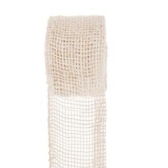 Ruban jute naturel blanchi. Larg.7cm rouleau de 5 mètres