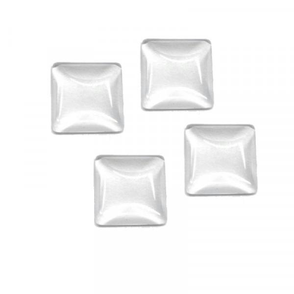 5x Cabochons carrés en verre transparent 25mm - Photo n°1