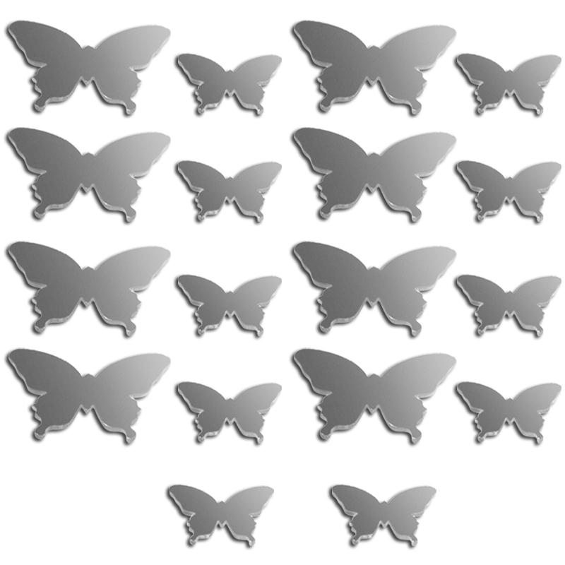 Miroir Deco Papillon 2 A 3 Cm 18 Pcs Miroir Autocollant