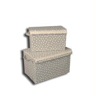 Boite de rangement rectangulaire pm avec couvercle, en tissu pois et dentelle