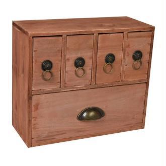 Meuble avec 1 tiroir et 4 casiers en bois