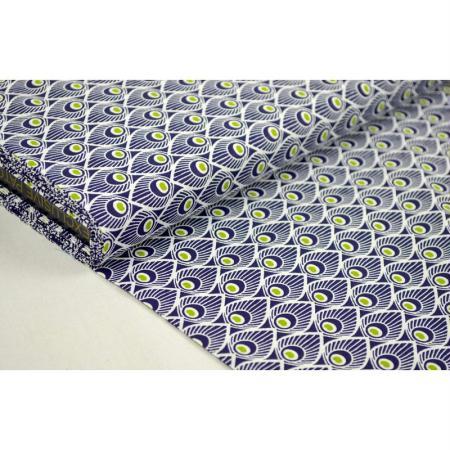 Tissu en coton coll. Déco bleu laize 150 cm - vendu par 10 cm - Clémentine Créations - Sopafra