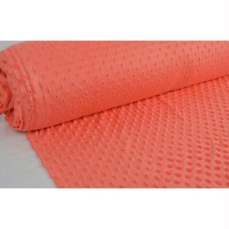 Tissu en acrylique coll. Minky pois orange laize 150 cm - vendu par 10 cm