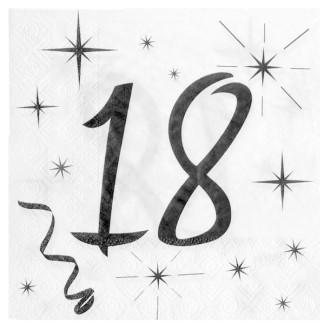 20 Serviettes anniversaire 18ans