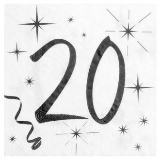 20 Serviettes anniversaire 20ans