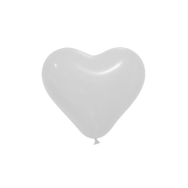12 Ballons opaques forme coeur blanc 28cm - Photo n°1