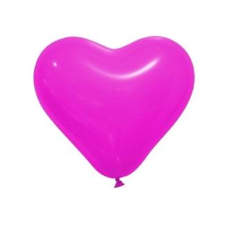 12 Ballons opaques forme coeur fuschia 28cm