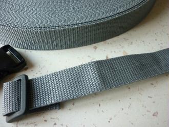 Sangle 25 mm polypropylène gris - au mètre - résistante et  imputrescible