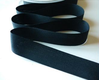Sangle ruban sergé coton fin noir 25 mm - souple et léger - vente au mètre