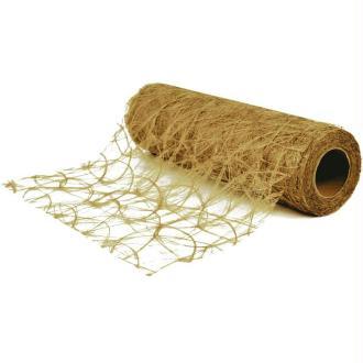 Chemin de table soie de fibre 30 cm or rouleau 5 m