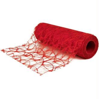 Chemin de table soie de fibre 30 cm rouge rouleau 5 m