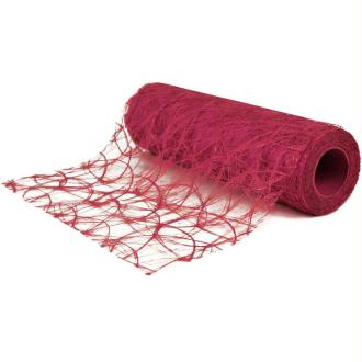 Chemin de table soie de fibre 30 cm rose foncé rouleau 5 m