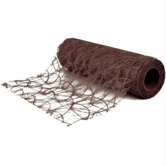 Chemin de table soie de fibre 30 cm châtain rouleau 5 m