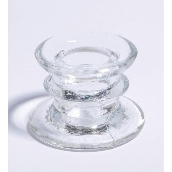 Bougeoir verre transparent Ht 4cm lot de 2 - Photo n°1