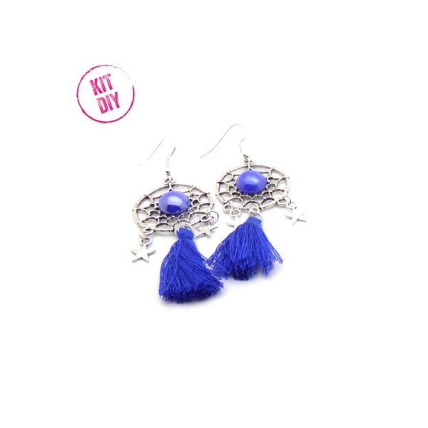 boucle d'oreille pompon bleu