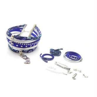 Kit Bracelet Liberty Lucy Lord bleu, suédine ton bleu, cuir argenté - 1 pièce
